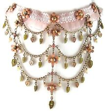 £40 Boho Gold Pearl Peach Pink Flower Choker Necklace Swarovski Elements Crystal