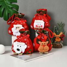 Christmas Flannel Santa Sack Kids Gifts Candy Stocking Bag Xmas Party Home Decor