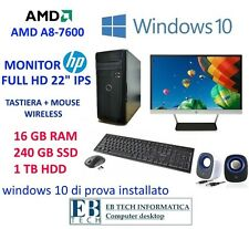 "PC GAMING COMPLETO AMD A10-7800K MONITOR HP 22"" IPS - SSD 240GB+1TB HDD 8GB RAM"