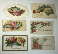 Victorian Die Cut Scrap Hidden Name LINDQUIST Calling Cards Happy Life Dear Wife