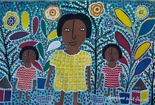 "LOUISIANE ST FLEURANT ORIGINAL FOLK PRIMITIVE NAIVE PAINTING ART HAITIAN 30""X20"""