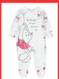 Disney Winnie The Pooh Sleepsuit Unisex Romper Babygrow Newborn