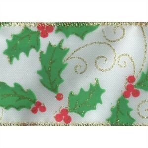 Holly Berry Gold on White Satin Wide Wired Ribbon 50 Yards NEW christmas winter
