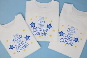 I'm the Big / Little / Middle Cousin T-shirt can be personalised boy or girl