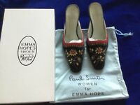 PAUL SMITH Women  EMMA HOPE black velvet kitten heels mules UK 4.5 US 7.5 37.5