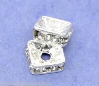 Sonderangebot 20 Versilbert Strass Quadrat Spacer Perlen Beads 6x6mm