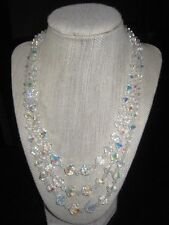 VINTAGE AURORA BOREALIS CRYSTAL BEADED THREE  STRAND NECKLACE