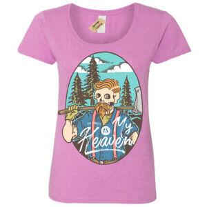 Lumberjack T-Shirt forest is my heaven woods Womens Ladies Scoop