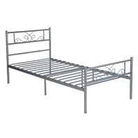 Twin Size Metal Bed Frame Mattress Foundation w/ Headboard and Footboard Silver