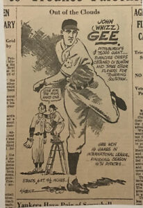 1940 newspaper panel - Out of The Clouds, Johnny (Whizz) Gee Pittsburgh Pirates