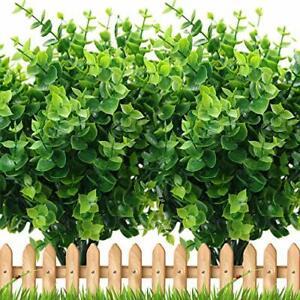 Artificial Plants Greenery Boxwood Shrubs - 8 Bundles Fake UV Resistant Green