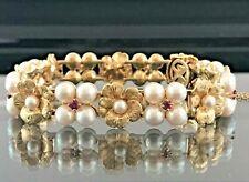 14k Gold Engraved Floral Ruby Akoya Pearl Bracelet JCP