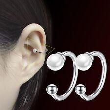 No Piercing Silver Plated Small Pearl Ball Ear Clip Earrings Women Girls Jewelry
