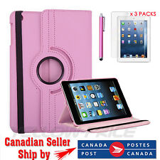 Pink 360-degree Swivel Case+ Clear Screen Protector+ Stylus Pen for iPad 2/3/4