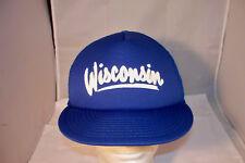 Vintage Wisconsin WI State of Blue Mesh Trucker Snapback Hat