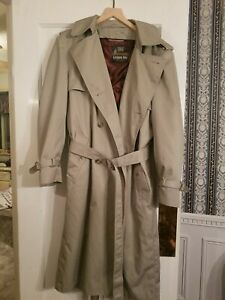 London Fog Towne Beige Trench Coat 44 Long w/ Zip Removable Maroon Liner + Belt
