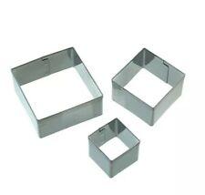 Makins Square Shape Mini Fondant Cutter Small 3pc Set