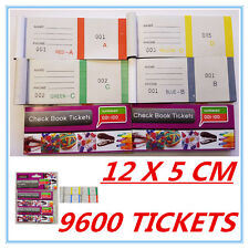 9600 RAFFLE TICKETS - CHECK BOOK TICKETS (1-100) COLORFUL - BUSINESS PARTY - AP