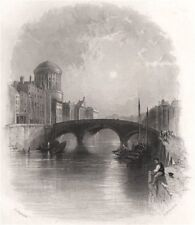 The Four Courts, Dublin. Ireland 1835 old antique vintage print picture