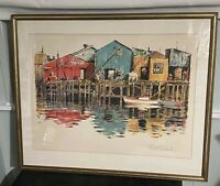 PAUL SECKEL LISTED GERMAN NY ARTIST SIGNED LITHOGRAPH WATERTFRONT BOATS 103/260
