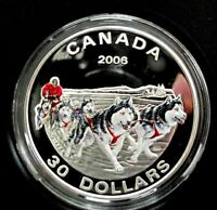 2006 CANADA SILVER COIN $30 DOLLARS DOG SLED TEAM  PROOF, MINTAGE 7384  PC