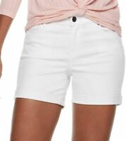 Juicy Couture Womens White Flaunt It Midi Cuffed Jean Shorts Summer Sz 16 NWT