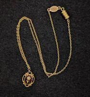 Vintage 1928 Gold Tone Brown Glass Flower Crystal Pendant Necklace 14948