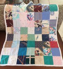 "Handmade Patchwork Lap Quilt Vintage Yarn Trim 29.5"" x 38"""