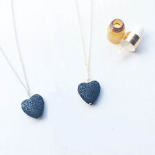 Lava Stone Rock Heart Pendant Necklace Yoga Aromatherapy Diffuser gift for women