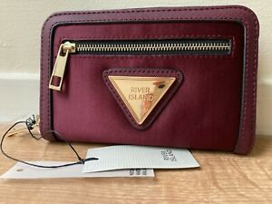 River Island red front satin burgundy  branded  zip top purse new with tags