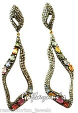 SCINTILLATING ROSE CUT DIAMOND & MULTI COLORED SAPPHIRE GOLD SILVER EARRING