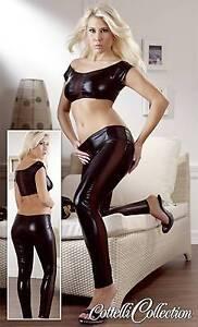 Top und Leggings Gr M mit Netzeinsatz Schwarz neu OVP sehr sexy