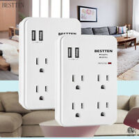 BESTTEN 4 Outlet Wall Mount Surge Protector with 3.1A 2 USB Ports ETL White