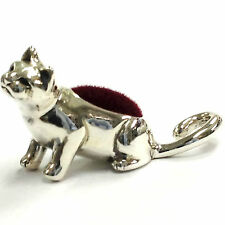 COLLECTABLE EDWARDIAN STYLE MINIATURE CAT PIN CUSHION VELVET STERLING SILVER 925