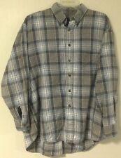 MENS Towncraft White Blue Brown Plaid Flannel Check Shirt Large L