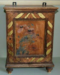 Art Nouveau kleiner Holzschrank bemalt,verziert-Hängeschrank 39 cm hoch 358.1.18