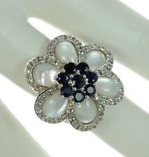 Sima K Solid 925 Sterling Silver Mother of Pearl & Sapphire Flower Ring Sz-6.5