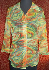 STELLA VINTAGE 80s artsy Psychedelic button front blouse S - XXL (T3204C7G)