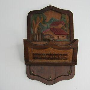 Vintage Honduras Wood Letter Bill Holder Home Office Organizer 3 Key Hooks Color