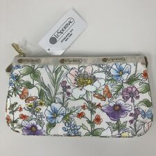New LeSportsac Small Koko Botanically Bag White Multicolor Floral Zip Wristlet