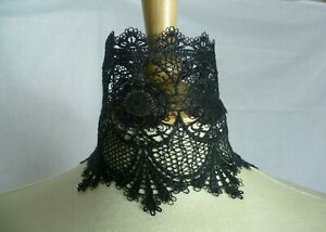 Wide Black Lace Choker, Gothic Necklace, Pick your neck size
