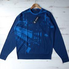 "*BNWT* JOHN SMEDLEY Merino Wool Jumper Sinker Pullover Blue Crew Neck L 43"""