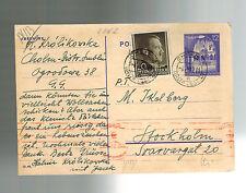 1942 Cholm Poland Ghetto GG Censored Postcard Cover to Stockholm Sweden Judaica
