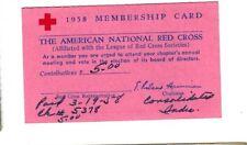 1958 Membership Card - American National Red Cross