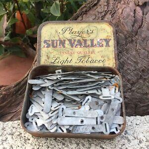 Vintage Wall Fixing Aluminium Cable Ties Henley Players Tobacco Tin Slot Tongue
