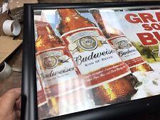 Budweiser Anheuser Busch Grab Some Bud Bar Pub Mirror Sign 21x33