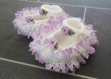 NEW - HAND KNITTED WHITE BABY BOOTEES WITH LILAC LACE AND ROSEBUDS - 0-3 MONTHS