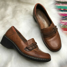 Cobb Hill New Balance Womens Wedge Heel Loafer US 6 W Wide Brown Leather Slip On