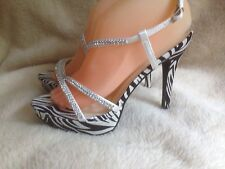 Ladies Size 6 Diamante And Zebra Print Sandals In White