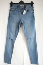 Topshop Moto Leigh Ripped Blue Stretch Skinny Jeans W28 Size10 To Fit L30